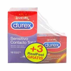 DUREX SENSITIVO CONTACTO TOTAL+ DUREX REAL FEEL PRESERVATIVOS PROMOCION 12 U + 3 U